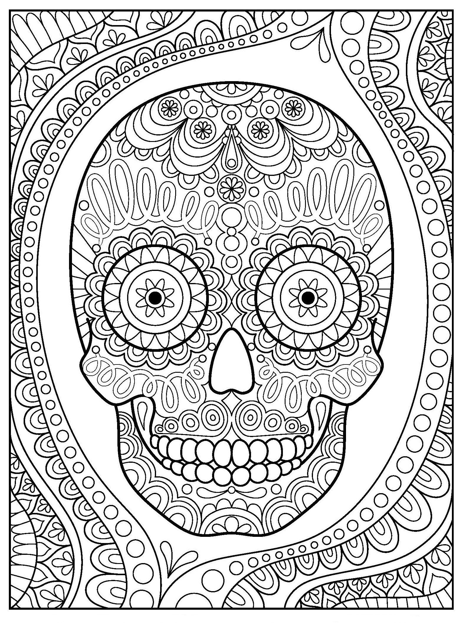 Раскраски «Хэллоуин» - «Крутой череп с орнаментом ...