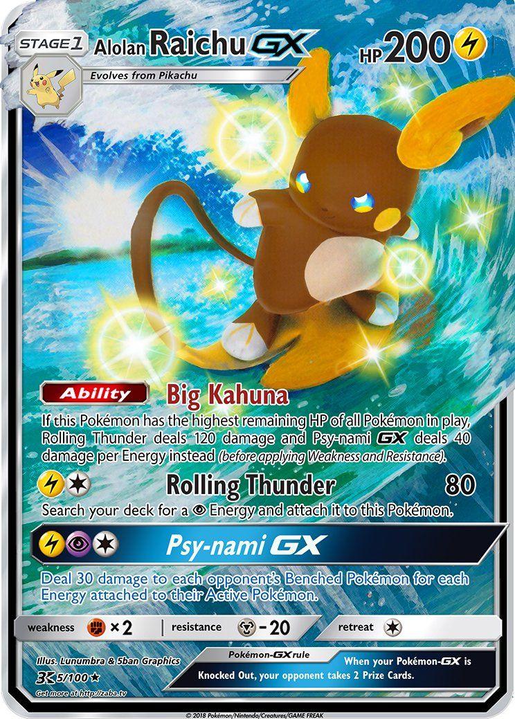 Alolan Raichu Gx Extended Art Custom Pokemon Card Pokemon