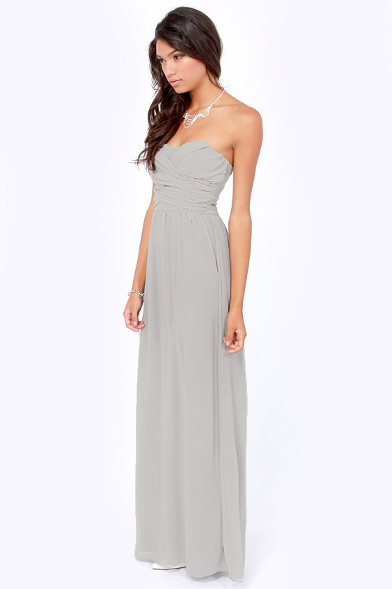 Exclusive Slow Dance Strapless Light Grey Maxi Dress | Ats ...