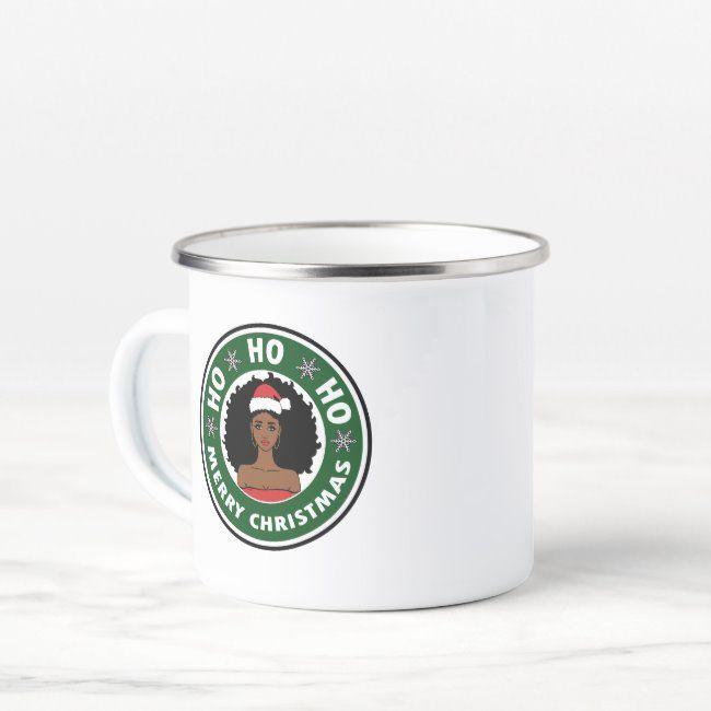 Gorgeous Ho Ho Ho Merry Christmas Afro Girl Enamel Camper Mug ,