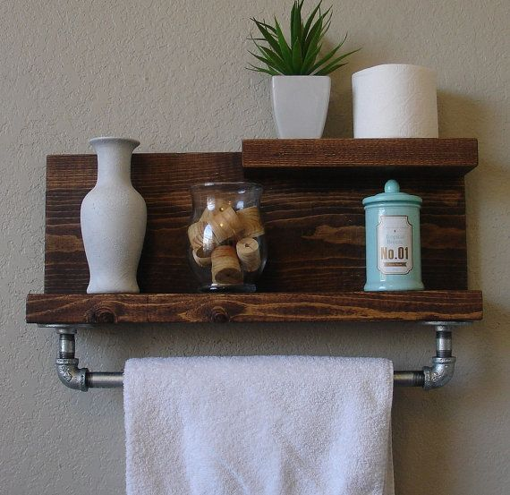 Handmade 2 Tier Bathroom Wall Shelf With Towel Bar Perfect For Any Home Or Apartment
