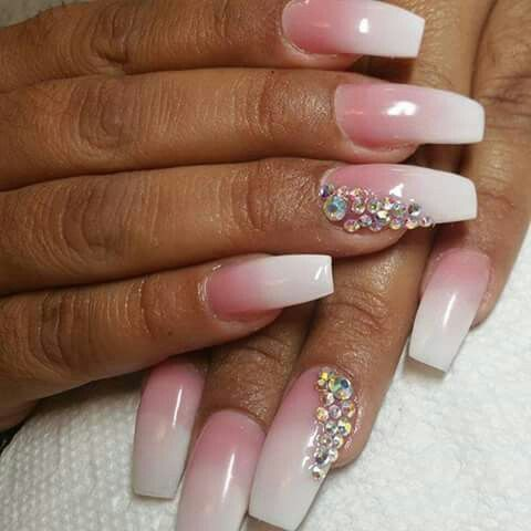 Beautiful Set Of Pink And White Fade Nails Using Tammy Taylor Cover It Up Dark Boutonnière Prizma Whitest Acrylic By