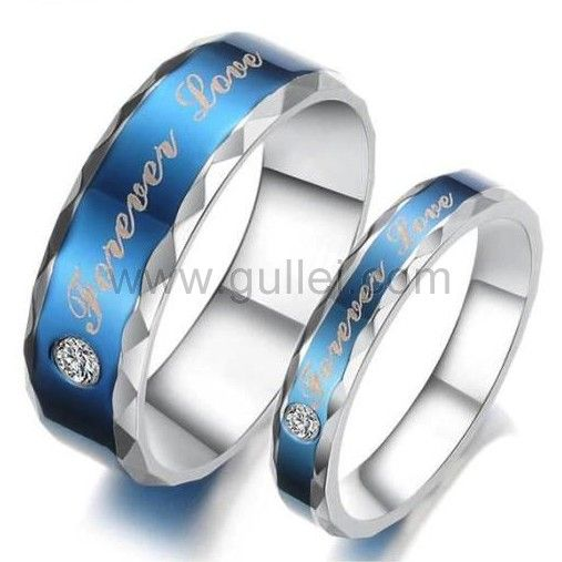 Custom Name Love Forever Promise Rings Set for 2 | Mens ...