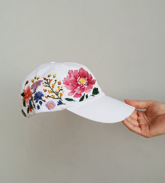 Hand Embroidered Hat Custom Embroidered Hat Floral Etsy In 2021 Custom Embroidered Hats Hand Embroidered Hat Hat Embroidery
