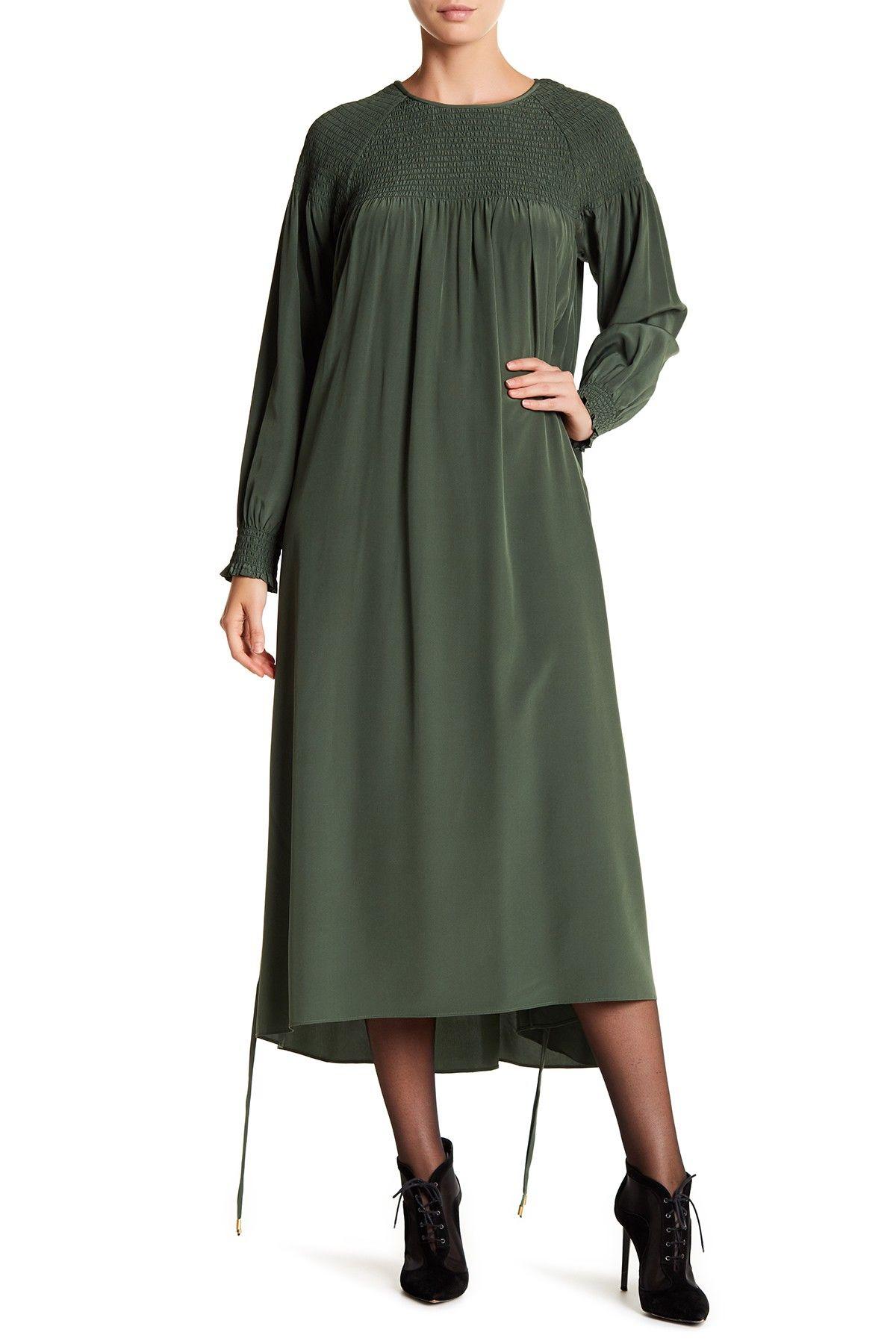 Tibi smocked silk long sleeve maxi dress long sleeve maxi free