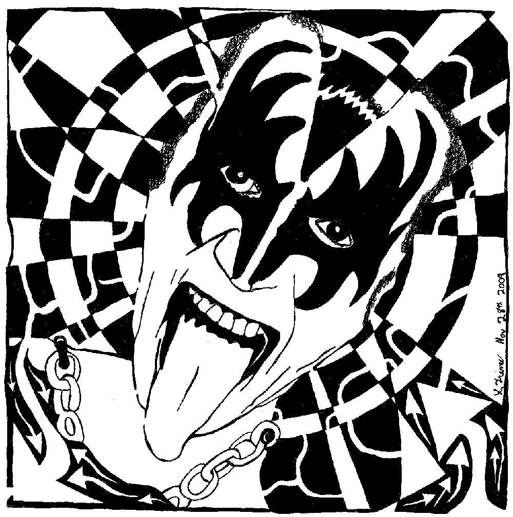 Coloring pages kiss - Gene Simmons Kiss Maze Maze Portrait Maze Art