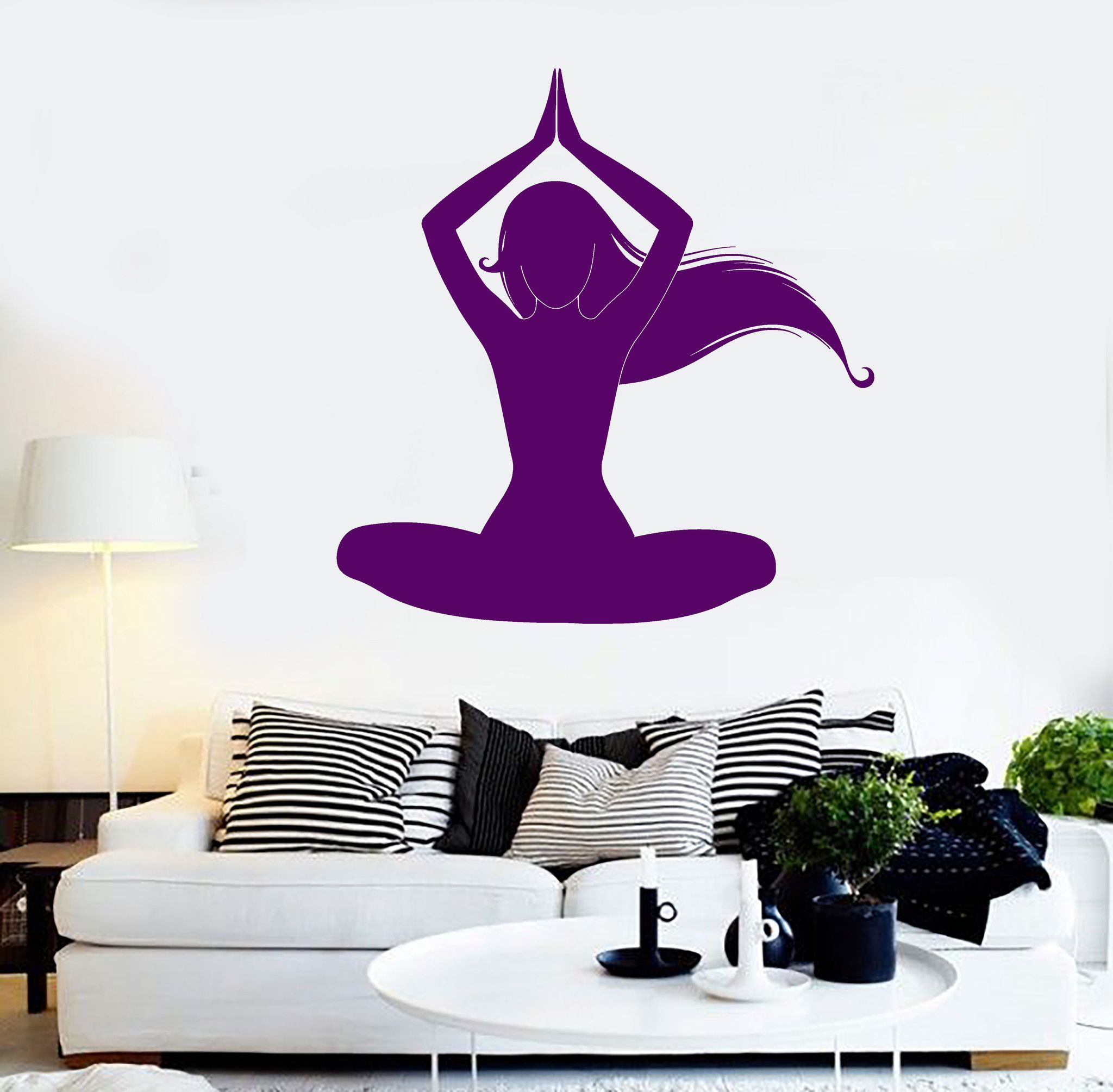 Vinyl Wall Decal Silhouette Meditation Woman Yoga Room Stickers - How to make vinyl wall decals with silhouette