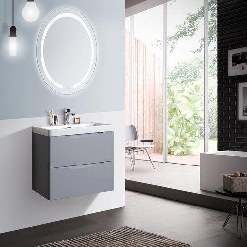 Crissman 600mm Wall Mounted Vanity Unit Belfry Bathroom Base Finish Grey Vanity Units Wall Mounted Vanity Classic Bathroom Furniture