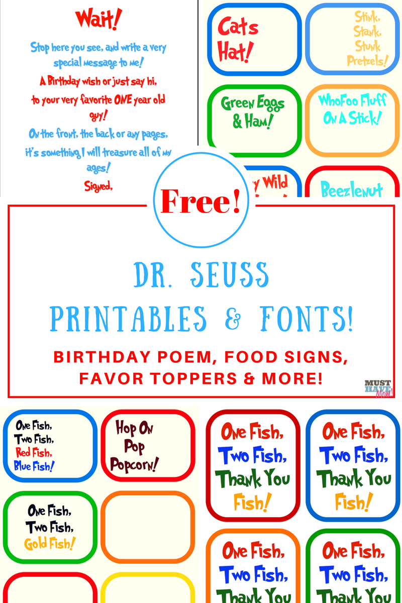 Dr Seuss Birthday Party Ideas Free Printables Poem Food Signs Printable Decorations And More Fonts Too