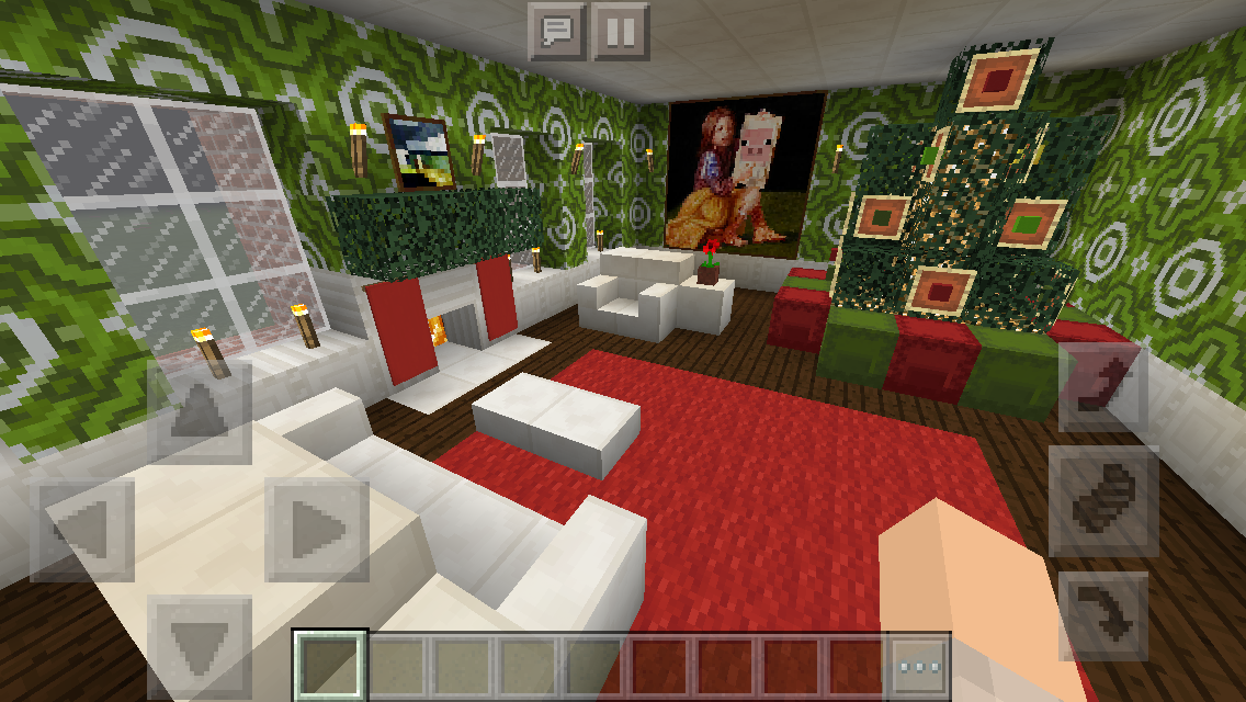 Christmas Minecraft Decorations.Colonial Christmas House Living Room Minecraft Interior