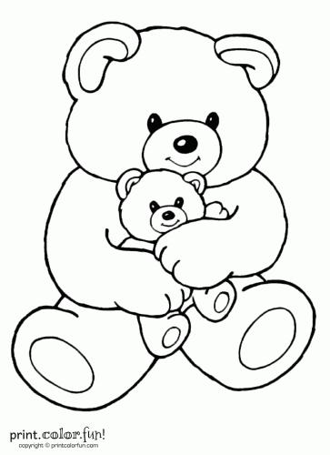 Coloring Sheet Mom Baby Bear Print Color Fun Teddy Bear Coloring Pages Cartoon Coloring Pages Teddy Bear Drawing