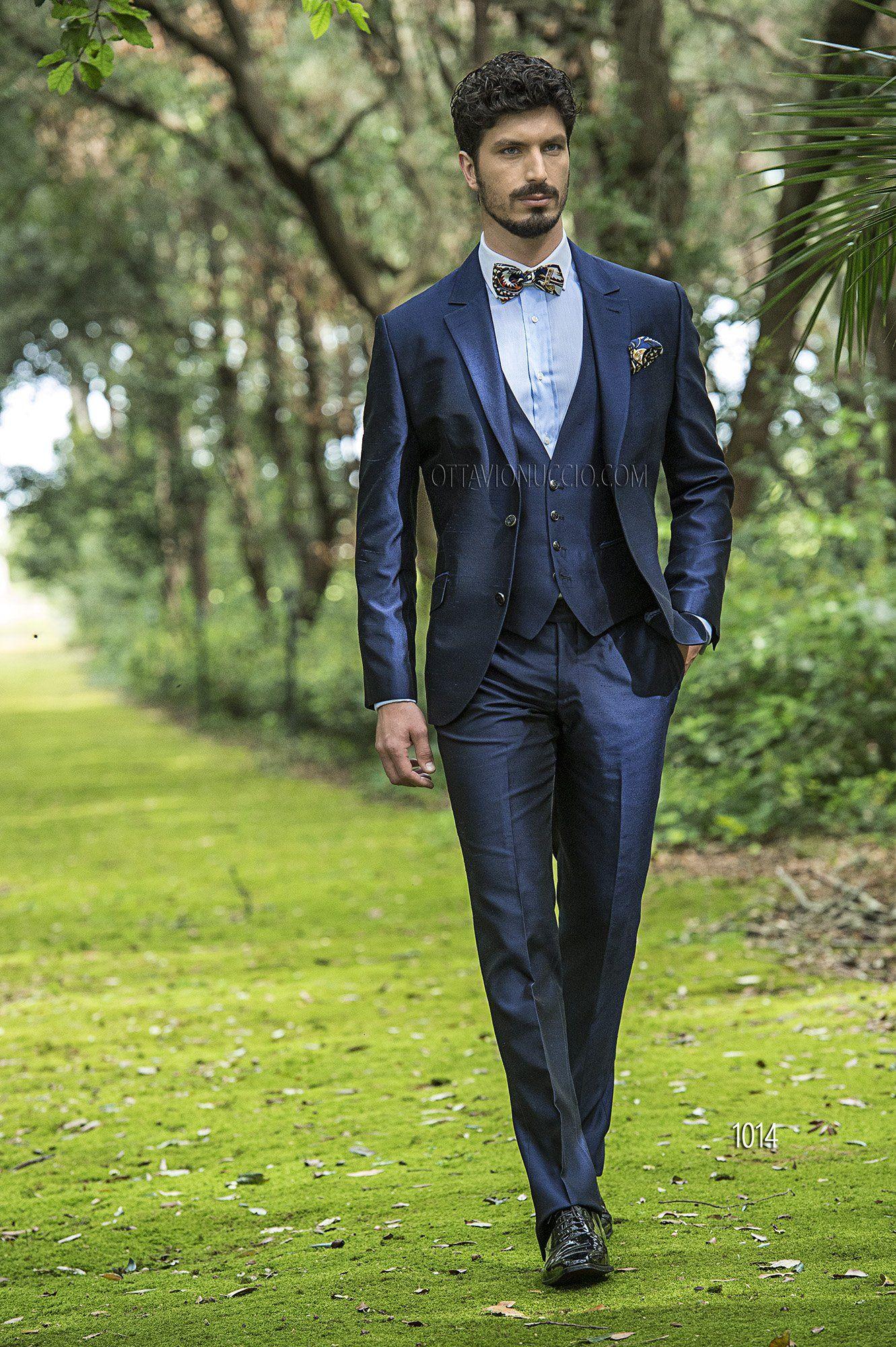 Abiti Cerimonia 3 Pezzi.Abito Da Cerimonia Uomo In Shantung Blu Hipster Mens Fashion