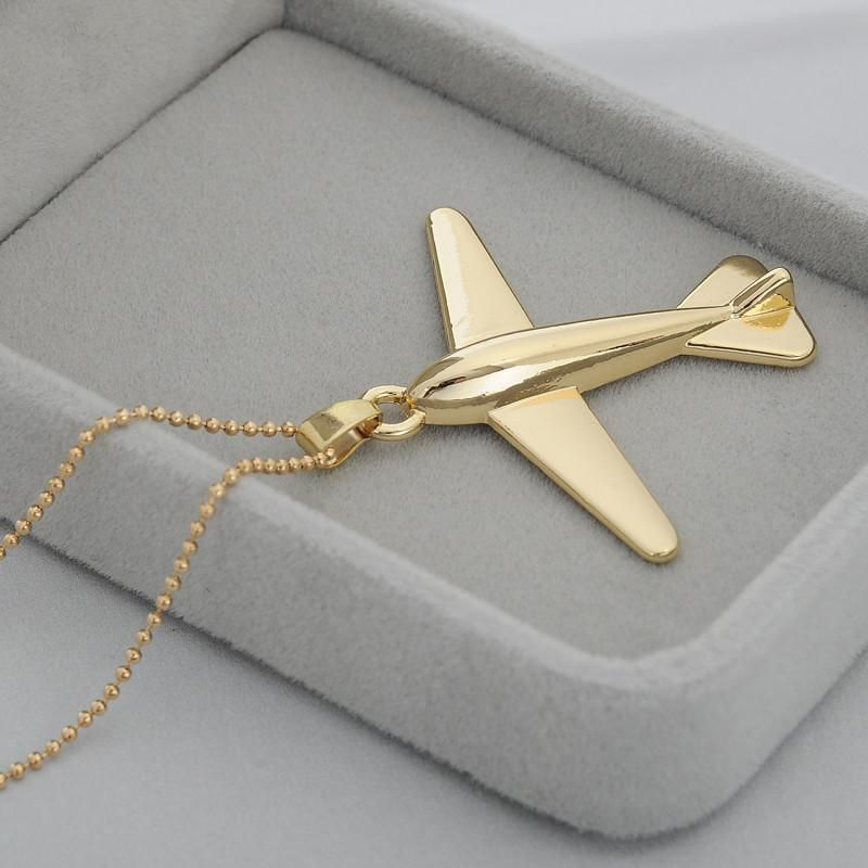 Golden Design Aircraft Necklace Pendant Golden Design Aircraft Golden Design Aircraft Necklace Plane Jewelry Airplane Necklace Pendant Jewelry