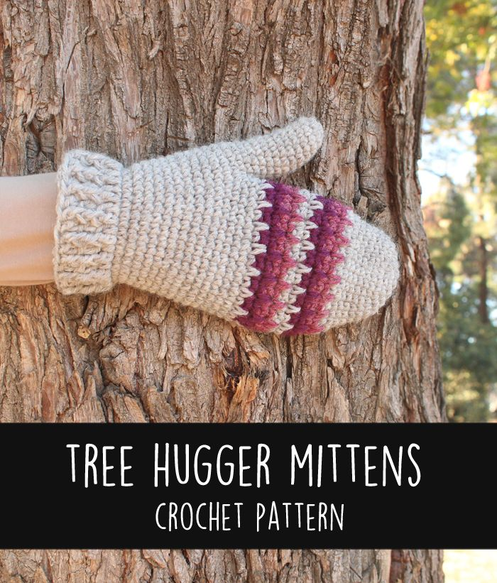 Free Crochet Pattern: Tree Hugger Mittens (Gleeful Things)