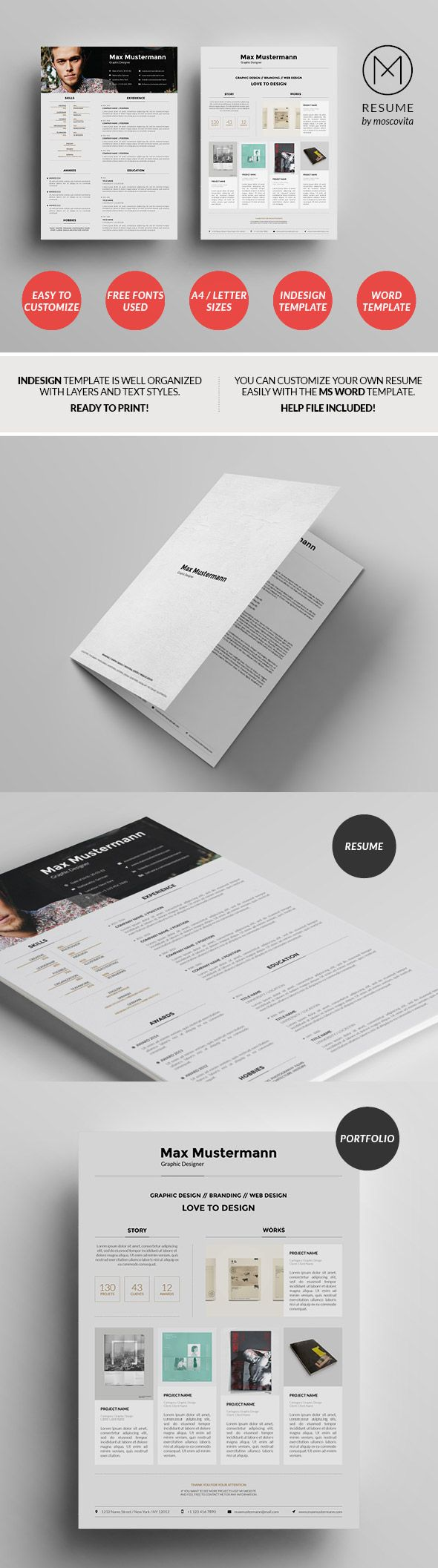 Structured Creative Resume Template Design  Template