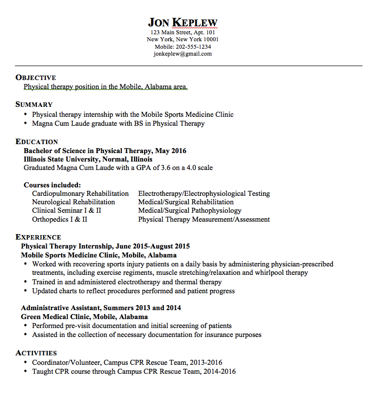 Physical Therapy Resumes Examples Resume Cv