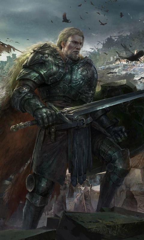 Knight, warrior, art, 480x800 wallpaper Fantasy drawings