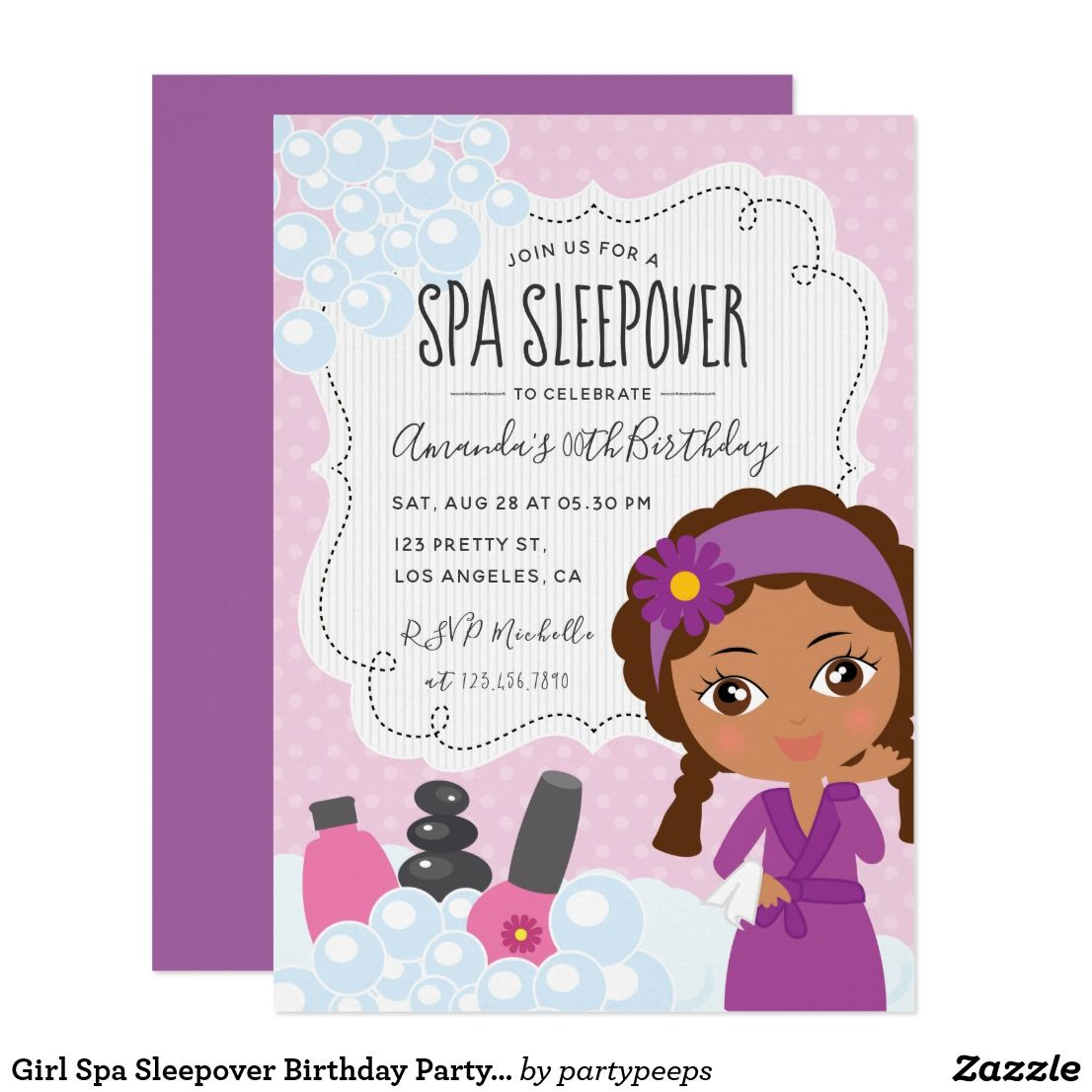 Girl Spa Sleepover Birthday Party Invitation Cool Girly African American Invitations Customizable To Your Event Specifics