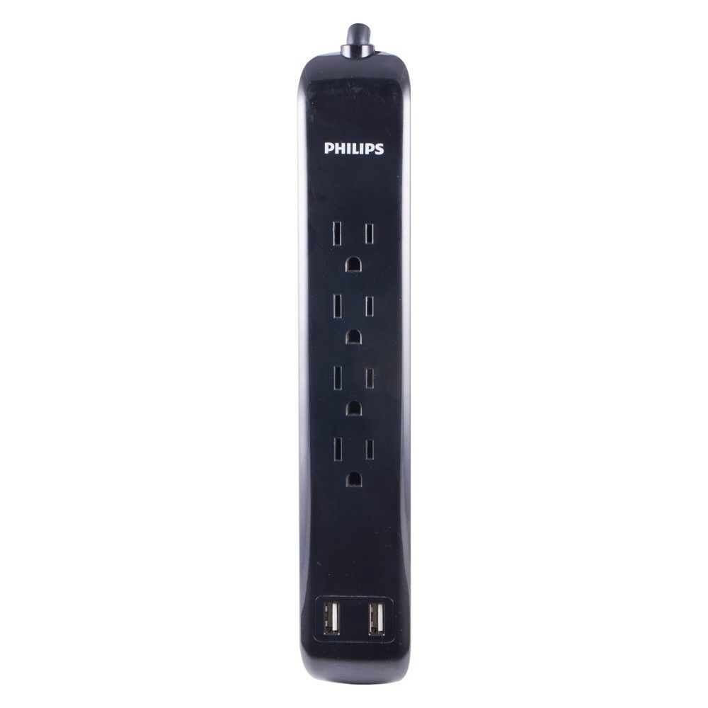 Philips 4 Outlet 2 Usb Port Surge Protector With 3ft Extension Cord Black Surge Protector Philips Extension Cord