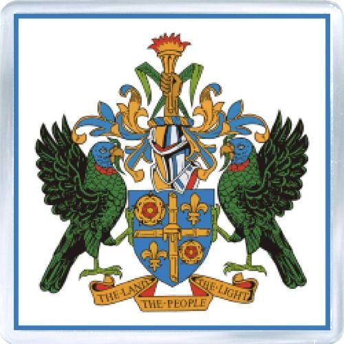 $3.29 - Acrylic Fridge Magnet: Saint Lucia. Coat of Arms of Saint Lucia