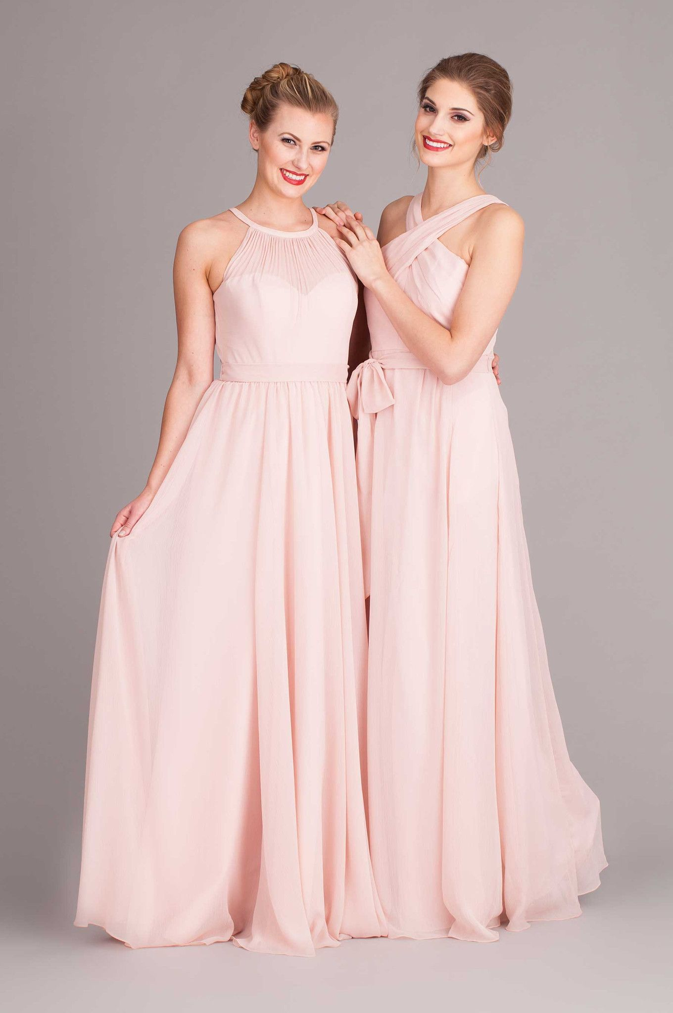 Kylee chiffon bridesmaid dresses wedding and illusion neckline blush bridesmaid dresses mix and match high necklines kennedy blue kylee and stella ombrellifo Image collections