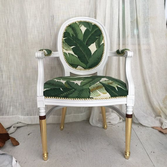 Banana Leaf French Louis XVI Upholstered Armchair Painted White And Gold  Gilded Frame Custom Dining Chair