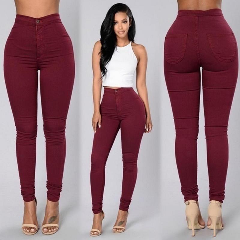 f7c7b59bd93 2018 Solid Wash Skinny Jeans Woman High Waist NEW Denim Pants Plus Size  Push Up Trousers