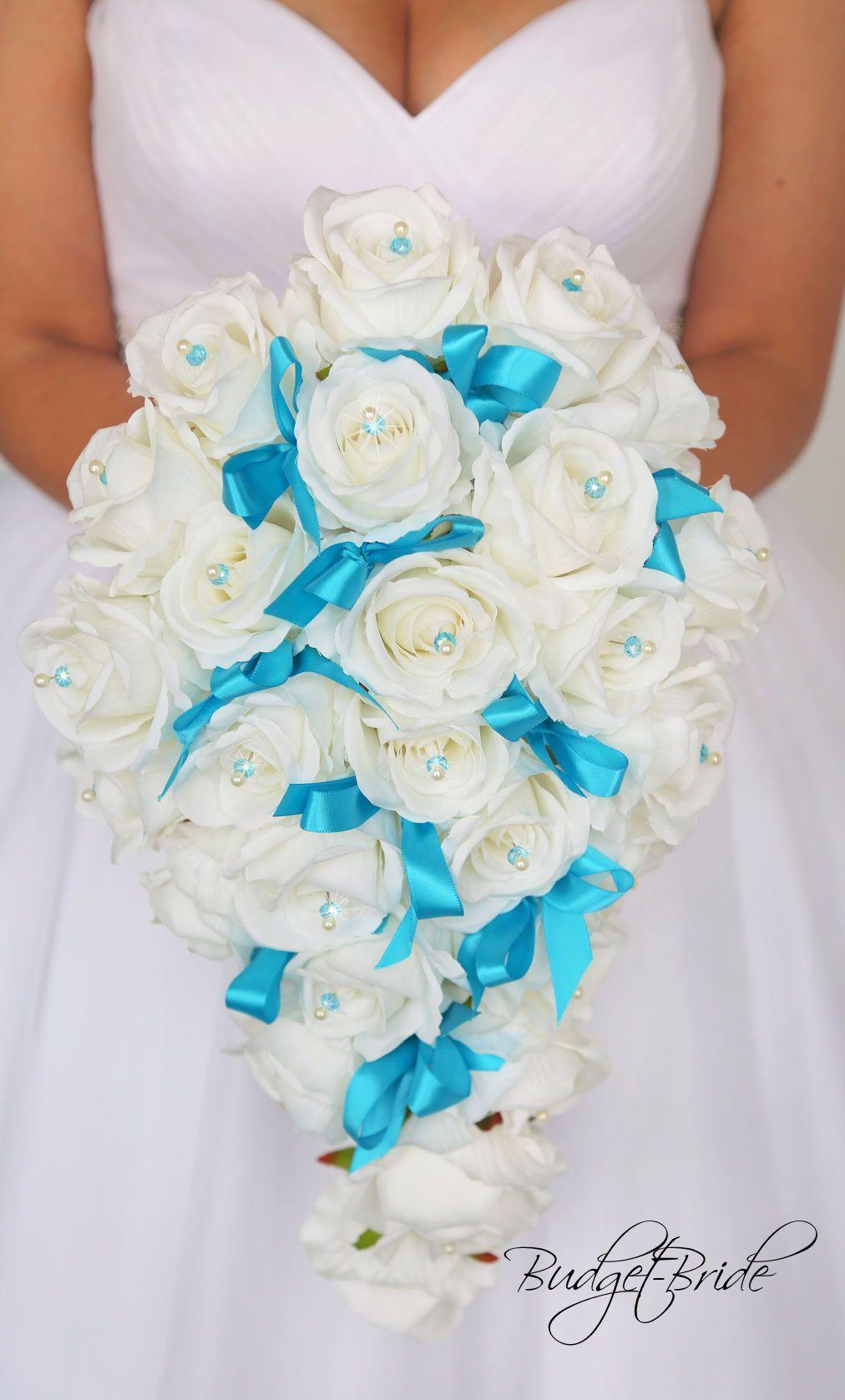 Malibu Davids Bridal Wedding Flowers Cascading White Rose Turquoise