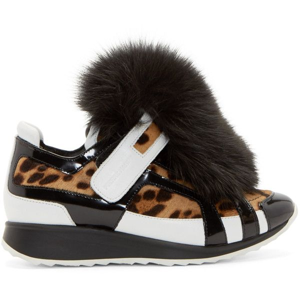 Pierre Hardy Black and White Animal Print Sneakers (€890) ❤ liked on Polyvore featuring shoes, sneakers, print sneakers, black and white sneakers, lace up sneakers, black white sneakers y animal trainer