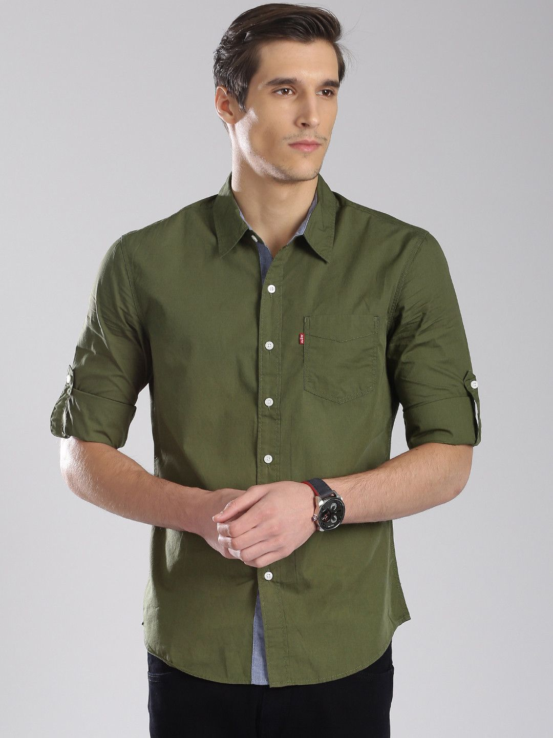 afb606438bf6 Levis Plain Slim Fit Casual Wear Olive Green Cotton Mens Shirt ...