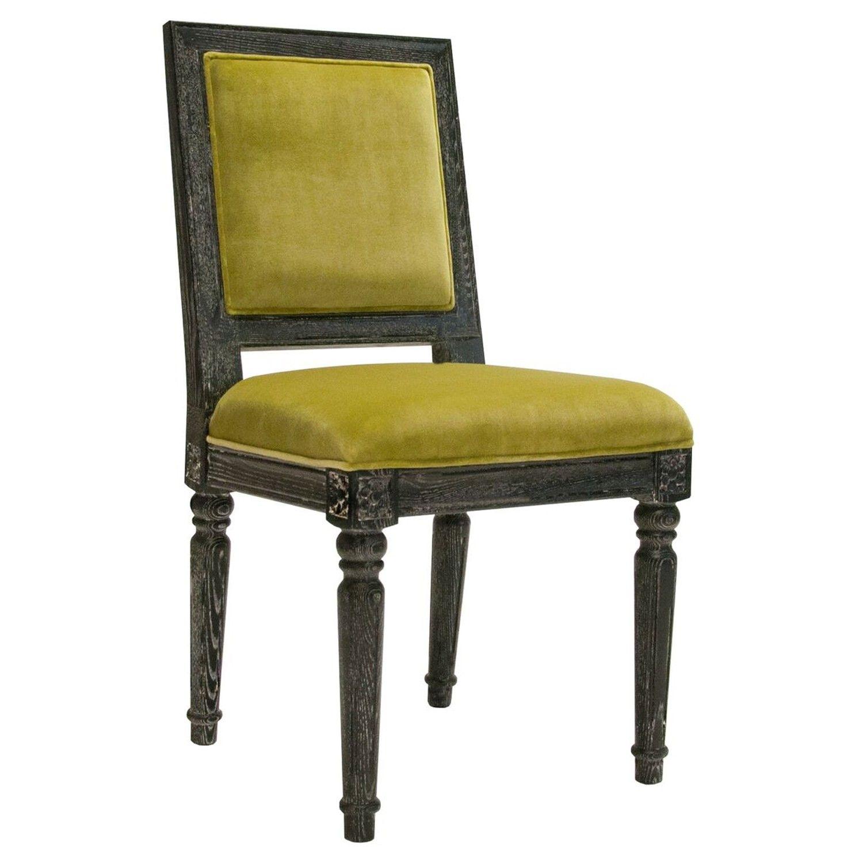 Black cerused oak square back chair in lime green velvet