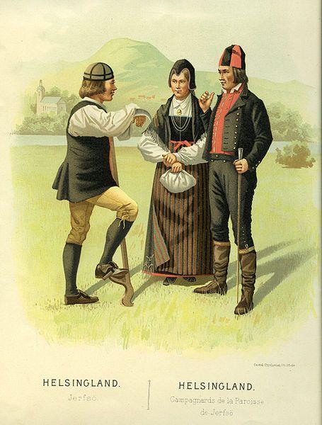 Folkdräkt från Järvsö, Hälsingland, Sverige.  Date1895  SourceThulstrup & Kramer, Afbildningar af Nordiska Drägter (1895)