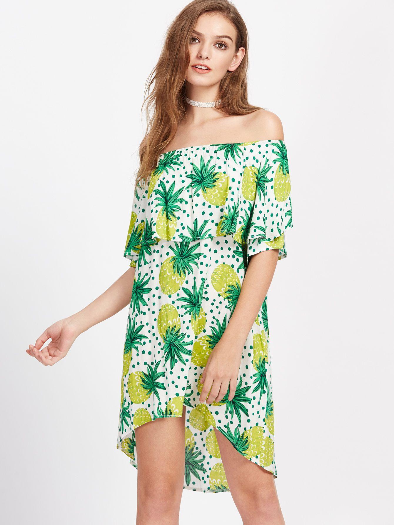 7496f4b4489 Shop Flounce Layered Neckline Pineapple Print Dip Hem Dress online. SheIn  offers Flounce Layered Neckline Pineapple Print Dip Hem Dress   more to fit  your ...
