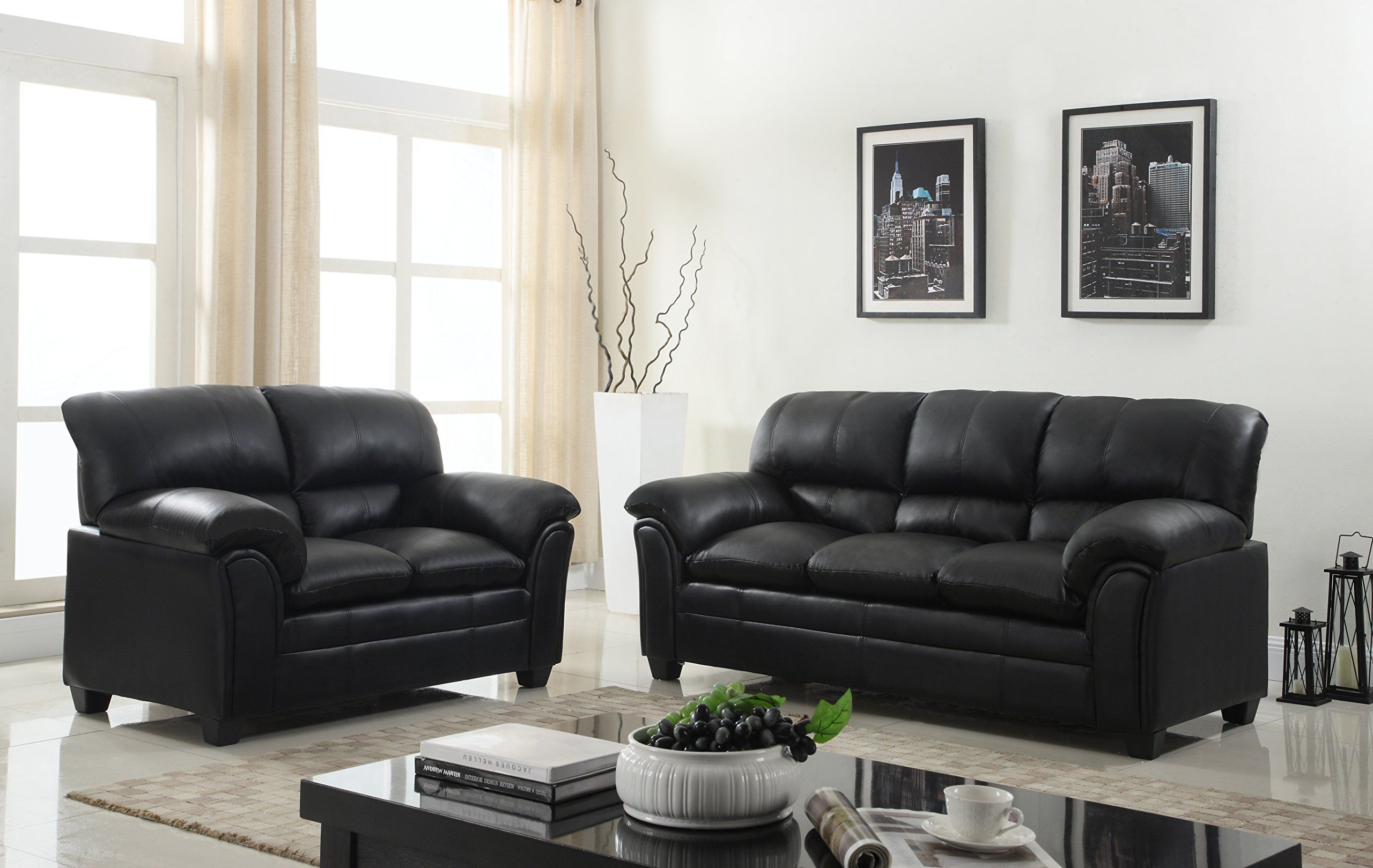 Gtu Furniture New Bonded Leather Sofa And Loveseat Living Room Furniture Set Leather Living Room Furniture Loveseat Living Room Leather Sofa And Loveseat