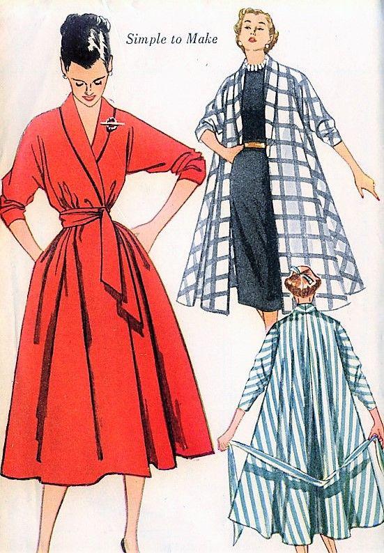 1950s LOVELY Swing Coat, Robe or Wrap Coat Dress Pattern SIMPLICITY ...