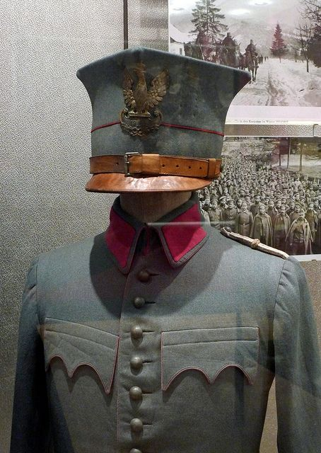 2322bbf8b42 Austro-Hungarian Army - Polish Legion Uniform - Note height of cap peak and  deeply scalloped pocket flaps. Coloured piping on pocket flaps are  identifiable ...