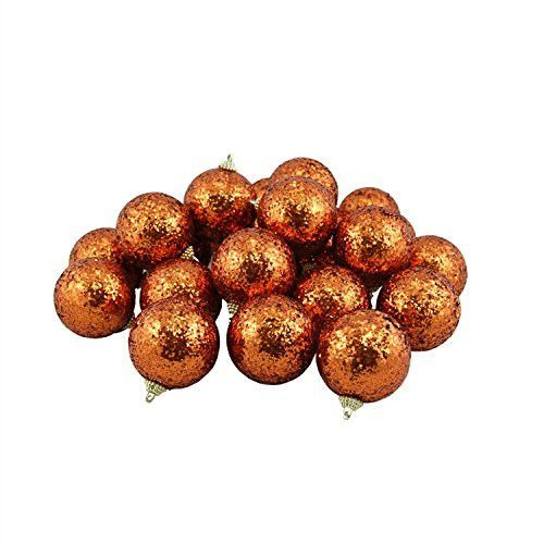 Felices Pascuas Collection 24ct Orange Shatterproof Sequin Finish Christmas Ball Ornaments 2.5 inch (60mm)