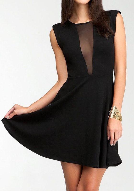 c583a819a00 Black Mesh Plunge Skater Dress