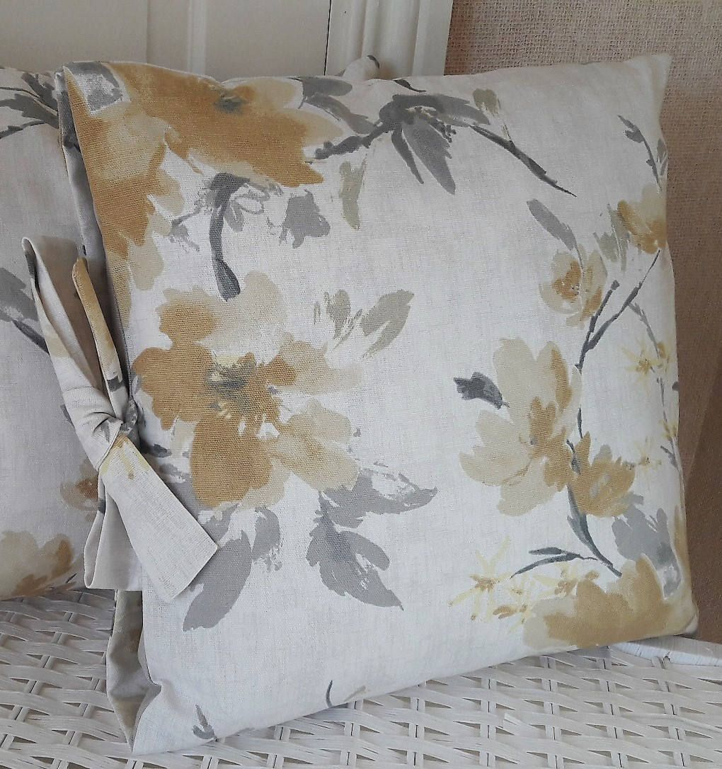Floral yellow and grey cushion hand made bow fastening decorative