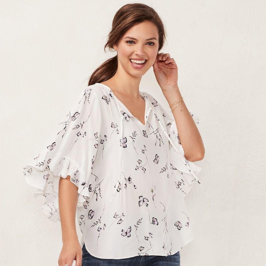 f2bd6ee32bd388 Women s LC Lauren Conrad Print Bell Sleeve Top