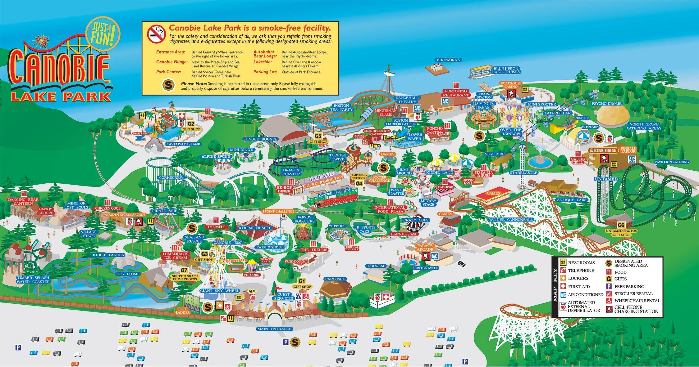 Canobie Lake Park Map Park Map | Canobie Lake Park | Map in 2019 | Canobie lake park