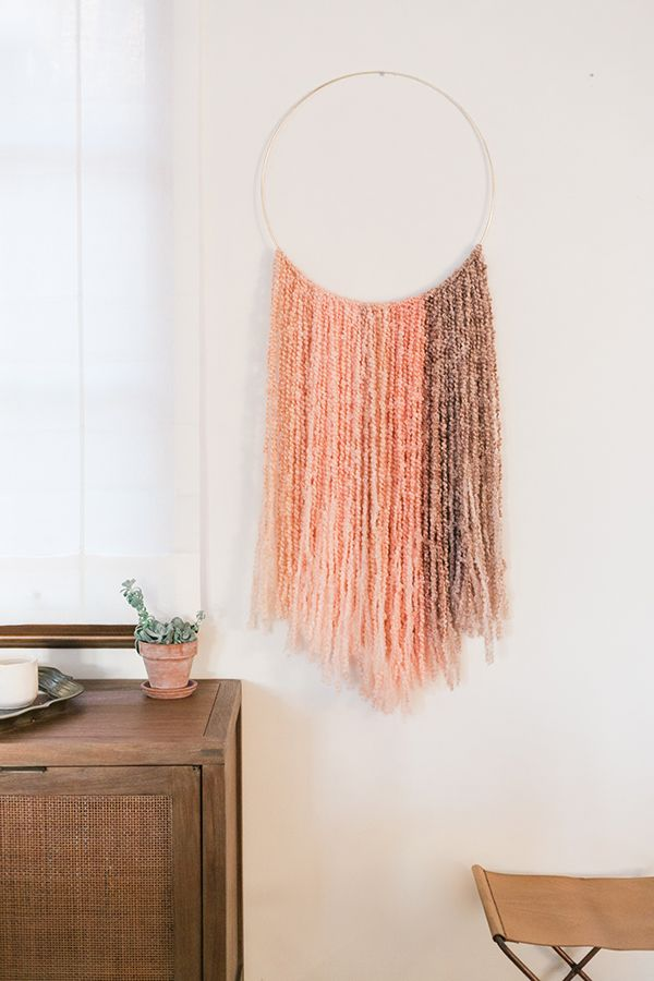 Inspired Idea Diy Gold Ring Wall Hanging Craft Yarn
