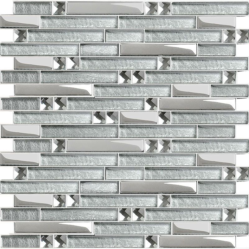 Wholesale Crystal Glass Tile Mosaic Sticker Silver Diamond Interlocking Tiles Mirror Wall Designs Discount Tile Backsplash