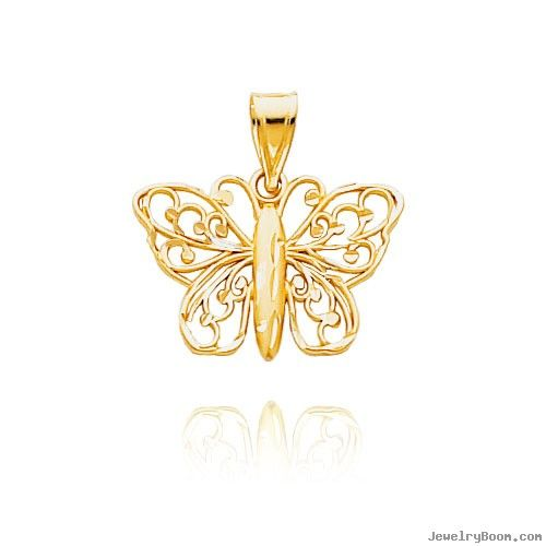 Gold butterfly pendants 14k yellow gold diamond cut filigree gold butterfly pendants 14k yellow gold diamond cut filigree butterfly pendant animal charms mozeypictures Gallery