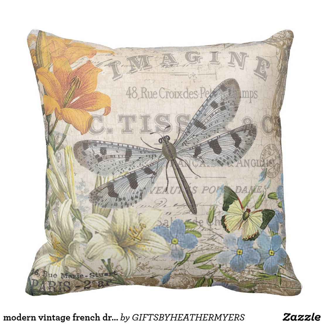 Modern Vintage French Dragonfly Throw Pillow Zazzle Com