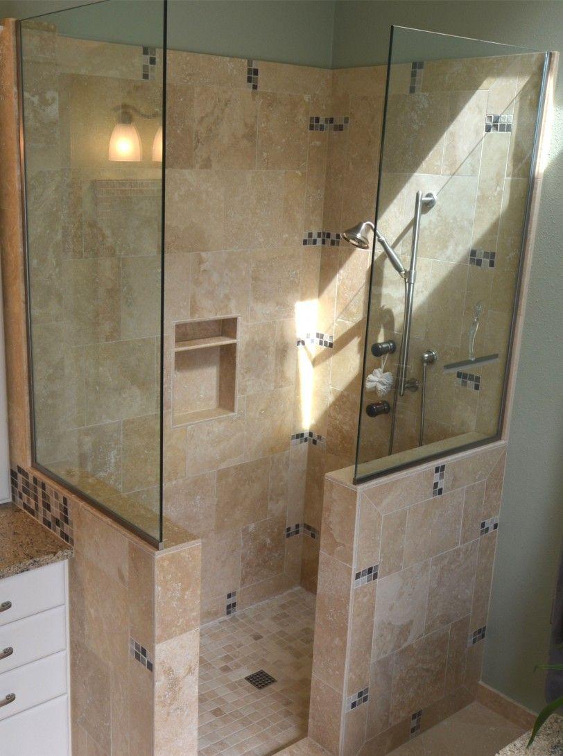 Fascinating Walk In Tile Shower Tiled Shower Designs How To Build A Doorless Shower Bathroom Shower Floo Shower Remodel Doorless Shower Bathroom Remodel Shower