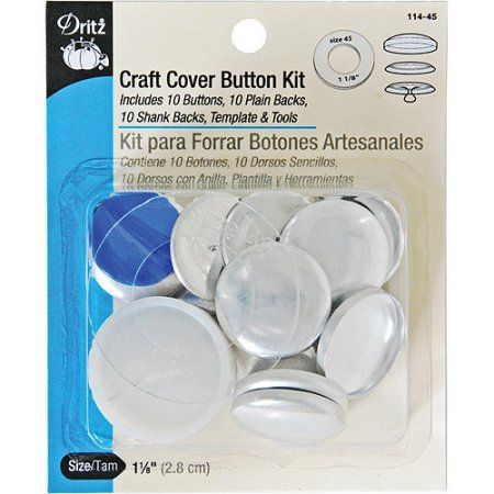 Dritz 114 45 Craft Cover Button Kit With Tools Size 45 1 1 8 Inch 10 Sets Walmart Com Button Crafts Covered Buttons Tufted Headboard Tutorial
