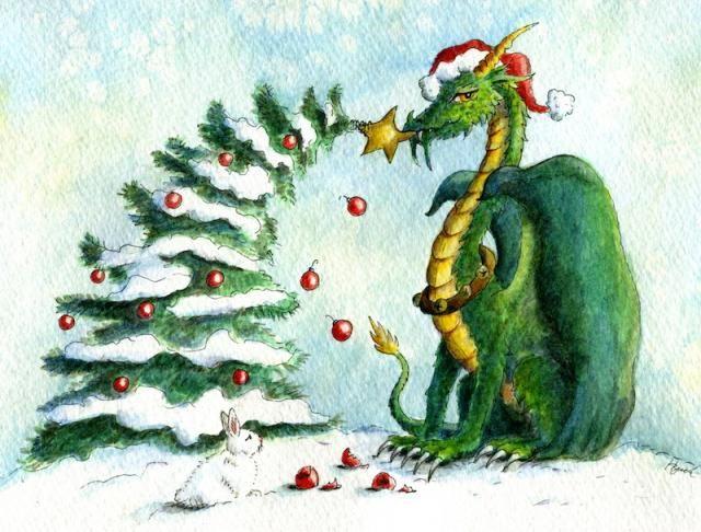 Christmas Dragon.Christmas Dragon Reach For The Stars By Heidi Buck Dragon