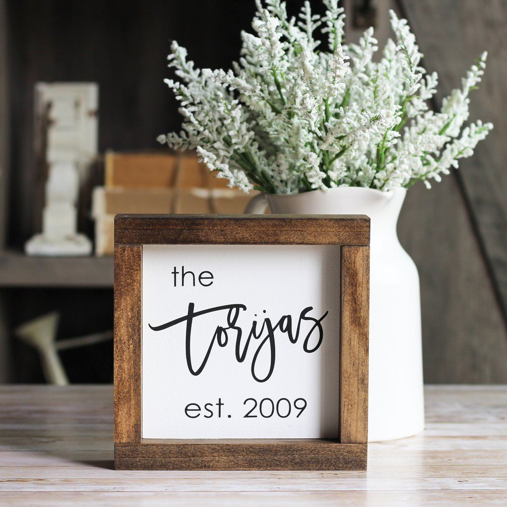 Family name sign personalized housewarming gift rustic