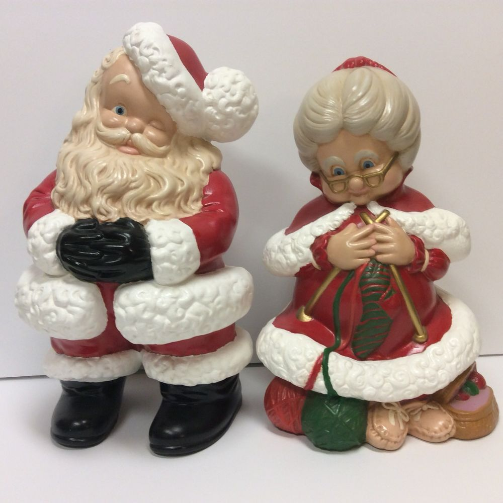 Mr Mrs Santa Claus Painted Ceramic Atlantic Mold Figure Set Vintage Christmas Ebay Vintage Christmas Christmas Ceramic Painting